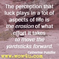 The perception that luck plays in a lot of aspects of life is the erosion of what effort it takes to move the yardsticks forward. Catherine Pulsifer