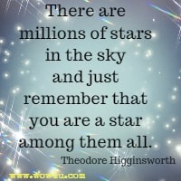 There are millions of stars in the sky and just remember that you are a star among them all. Theodore Higginsworth
