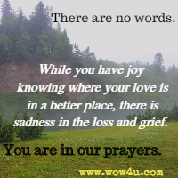 There are no words. While you have joy knowing where your love is in a better place, there is sadness in the loss and grief. You are in our prayers. Catherine Pulsifer