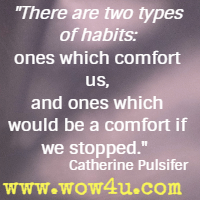There are two types of habits: ones which comfort us, and ones which would be a comfort if we stopped. Catherine Pulsifer