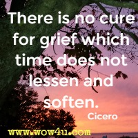 There is no cure for grief which time does not lessen and soften. Cicero