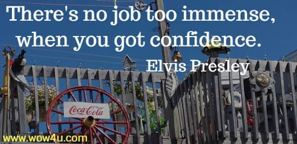 There's no job too immense, when you got confidence.   Elvis Presley