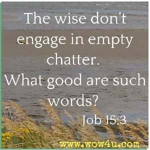 The wise don't engage in empty chatter. What good are such words? Job 15:3