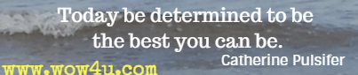 Today be determined to be the best you can be. Catherine Pulsifer