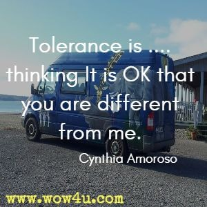 Tolerance is .... thinking It is OK that you are different from me. Cynthia Amoroso