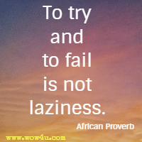 To try and to fail is not laziness. African Proverb