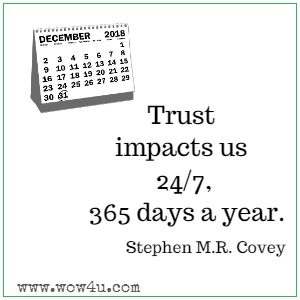 Trust impacts us 24/7, 365 days a year. Stephen M.R. Covey