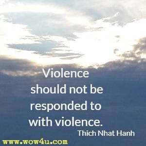 Violence should not be responded to with violence. Thich Nhat Hanh