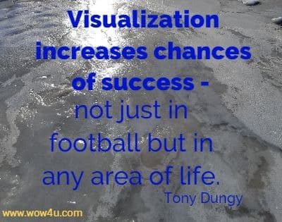 Visualization increases chances of success - not just in football but in any  area of life. Tony Dungy