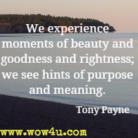We experience moments of beauty and goodness and rightness; we see hints of purpose and meaning. Tony Payne
