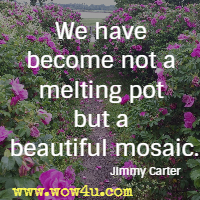 We have become not a melting pot but a beautiful mosaic. Jimmy Carter
