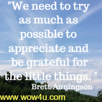 We need to try as much as possible to appreciate and be grateful for  the little things. Brett Anningson