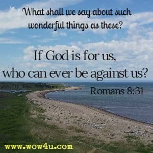 What shall we say about such wonderful things as these? If God is for us, who can ever be against us?  Romans 8:31