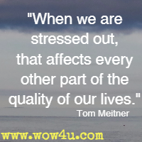 When we are stressed out, that affects every other part of the quality of our lives. Tom Meitner
