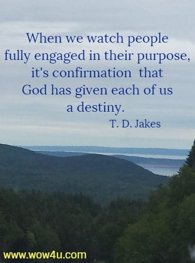 When we watch people fully engaged in their purpose, it's confirmation  that God has given each of us a destiny.  T. D. Jakes