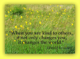 When you are kind to others, it not only changes you, it changes the world.  Harold Kushner