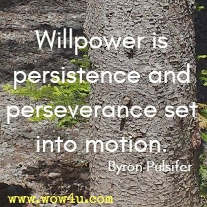 Willpower is persistence and perseverance set into motion. Byron Pulsifer