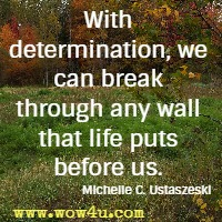 With determination, we can break through any wall that life puts before us. Michelle C. Ustaszeski