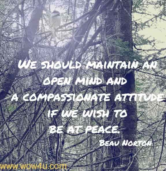 We should maintain an open mind and a compassionate attitude if we  wish to be at peace.Beau Norton