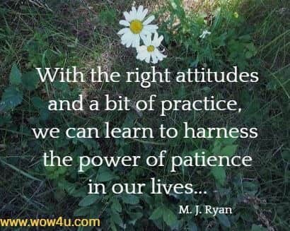 With the right attitudes and a bit of practice, we can learn to harness  the power of patience in our lives... M. J. Ryan