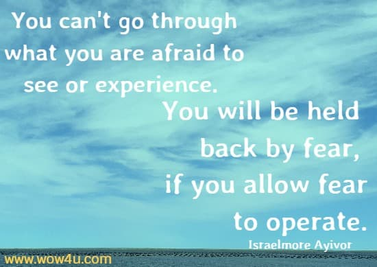 You can't go through what you are afraid to see or experience.  You will be held back by fear, if you allow fear to operate.  Israelmore Ayivor