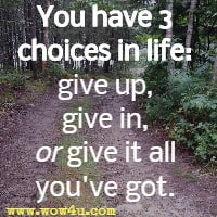 You have 3 choices in life: give up, give in, or give it all you've got.
