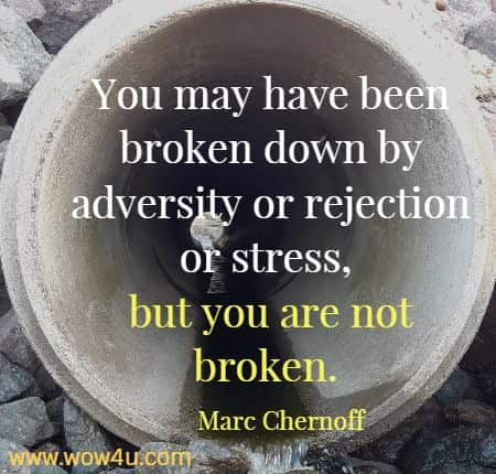 You may have been broken down by adversity or rejection or stress, but you are not broken.  Marc Chernoff