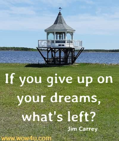 If you give up on your dreams, what's left?    Jim Carrey