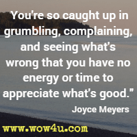 You're so caught up in grumbling, complaining, and seeing what's wrong that you have no energy or time to appreciate what's good. Joyce Meyers